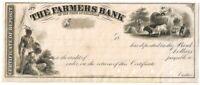 Proof - 1800's Farmers Bank of Delaware Certificate of Deposit
