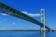 New 5x7 Photo: View Under the Mackinac Bridge with Michigan's Upper Peninsula