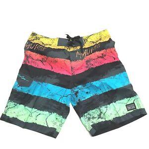 Maui And Sons Board Shorts 36 Swim Trunks Surfer Logo Colorblock Multicolor Surf