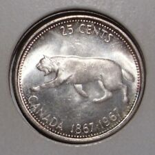 1967 Canada 25 Cents Silver Coin , BU PL