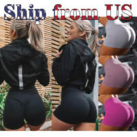 US Women's Push Up High Waist Yoga Shorts Ruched Sports Pants Casual Gym Workout