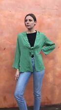PETER COHEN Silk Kimono Jacket Coat Top Green Blazer Blouse Tie front XL