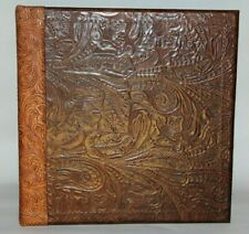 Choocolate Western Floral Embossed Leather 2 3 Ring Binder Chestnut Trim