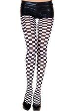 Black white square check checkerboard checkered opaque print 70 denier tights