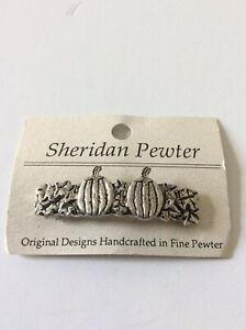 Sheridan Pewter Small Pumpkin Hair Barrette Autumn Harvest Halloween Made In USA