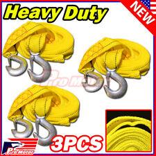 """3 x 13FT (2"""" X 10') Yellow Rope Heavy Duty Tow Strap Hook 10K LB 5 Ton Capacity"""