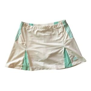 Adidas Climate Cool Tennis Skirt White with Green Stripes Women's Medium
