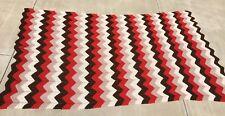"HANDMADE AFGHAN THROW BLANKET BEDDING  ART MULTICOLORED CROCHET CHEVRON 112""x65"""