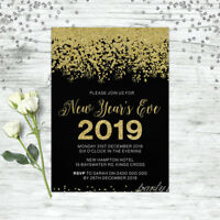 NEW YEARS EVE INVITATION INVITE PARTY INVITATIONS 2018 BLACK & GOLD PERSONALISED