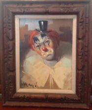 Oil Painting Clown by Italian Artist Augusto Magli Framed & Signed