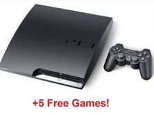 Sony PlayStation 3 Console PS3 Slim Game Bundle Lot | Controller, 5 Games, Cords