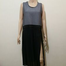 C369 - Rococo Gray Dress with Black Pleated Sheer Skirt with Hip-level Slit