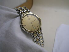 OMEGA DEVILLE DATE 18K YELLOW GOLD STAINLESS STEEL QUARTZ  WATCH