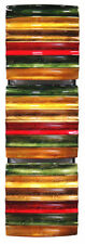 Vertical 3-Panel Metal Wall Decor - Green Red Copper & Brown Lacquered 294486