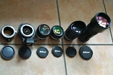 Collection objectifs Nikon Ai-S 24mm 50mm 135mm 300mm 600mm + adaptateur Sony