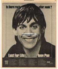 1977 Iggy Pop Lust For Life Vtg Album Promo Print Ad