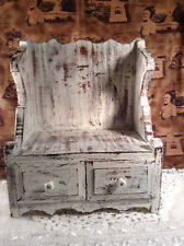 Country Western Style Painted Small Cabinet Stand & Drawers For Dolls, Bears Ect