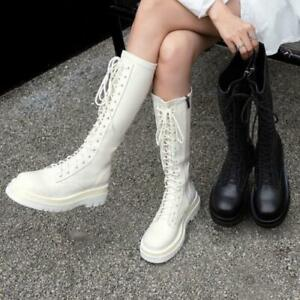 Womens Fashion Leather Lace Up Platform Knee High Combat Riding Boots Shoes SKGB