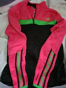 Adidas Womans Pink/black Climalite Full Zip Track Jacket Size Large