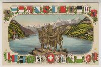 Switzerland postcard - Rutlischwur, Serment du Rutli showing 22 Coats of Arms