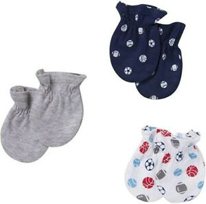 Gerber Newborn Boys' 3 Pack Mitten Set Nwt New (Boys') 0 – 3 Months football spo