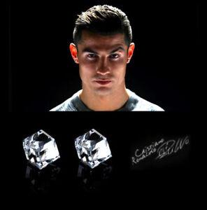 Men's/Boy's: Ronaldo MAGNETIC 7mm Crystal Diamond Effect Cube / Square Earrings