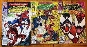 AMAZING SPIDER-MAN CARNAGE COMIC BOOK LOT #361,362,363 VF