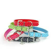 Dog Puppy Polka Dot Collar Pet Rhinestone PU Leather Band Crystal