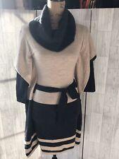 Karen Millen Grey Beige Cowl Neck Tie Waist Layered Poncho Jumper Dress Uk8 NWT