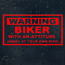 Warning Biker With an Attitude Annoy At Your Own Risk Car Decal Vinyl Sticker