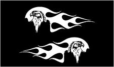 "12"" Pair (2) Eagles Flames CAR motorcycle Vinyl Decal Sticker"