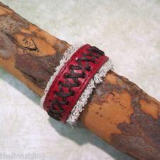 Hip Hop Urban Surfer Fashion Genuine Red Leather on Canvas Band Bracelet