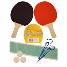 Sports Table Tennis Set with 2 Black/Red Faced Bats, 3 Balls & Net