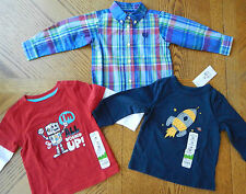 NEW 18 month Boy long-sleeved Top LOT Chaps Space dress collared tee NWT clothes