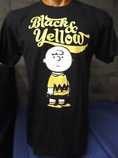 Mens Licensed Peanuts Charlie Brown Black and Yellow Shirt New M