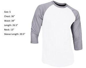 New 3/4 Sleeve Raglan Baseball Mens Plain Tee Jersey Sports T-Shirt White Gray S