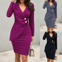 Women Elegant Work Business Office Lady Formal Party Bodycon Pencil Blazer Dress