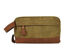 Waterproof Canvas Leather Toiletry Bag Travel Dopp Kit Shaving Bag Grooming Kit