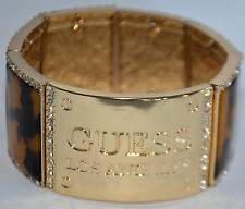 NWT Guess Gold Metal-Clear Rhinestones-Tortishell Inserts Stretchable Bracelet