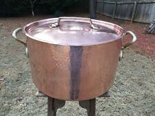"""Dehillerin Mauviel 18"""" Copper Stew/Stock Dutch Oven 24 Qt Pan Pot Good Tin 3.2mm"""