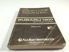 1977 Subaru 1600 Service Manual MSA-107 Fuji Heavy Industries Tokyo Japan