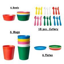 Ikea Kalas Kids Plastic Mug, Bowl, Plate, Cutlery Set. 36pcs BPA Free Tableware