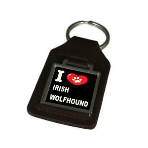 I Love My Dog Engraved Leather Keyring Irish Wolfhound