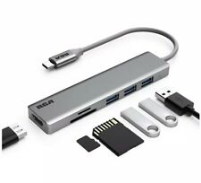 USB C Hub, RCA USB C Adapter, 4K USB C to HDMI, 3 USB 3.0 Ports, SD/TF (Grey)