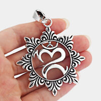 5Pcs Large Antique Silver Open OM OHM AUM Yoga Symbol Pendant Jewelry Necklace