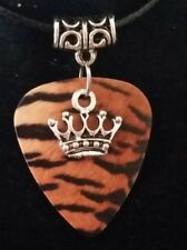 Animal Tiger Guitar Pick plectrum Pendant Necklace Choker Jewellery Rock Crown