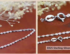 Wholesale lots 10pcs 925 Sterling Silver Lady Wave Chain Necklace 18 inch