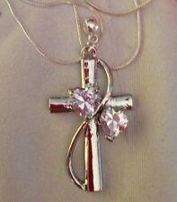 "Crystal Heart Cross,engraved""faith Hope Love+925 22""chain+Free  Earings/ina Box."