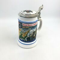 G Heileman Brewing Company Beer Stein - 1987 Milk Glass BMF Bieseidal W. Germany