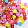 100 Acrylic Dice Cube Spacer Beads Mixed Colour 8mm for Jewellery Making & Craft